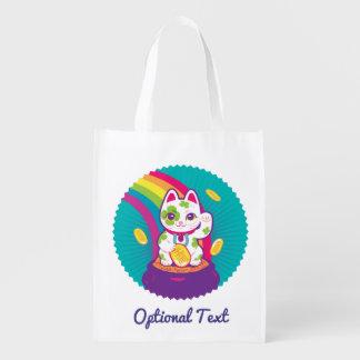 Lucky Cat Maneki Neko Good Luck Pot of Gold Reusable Grocery Bag