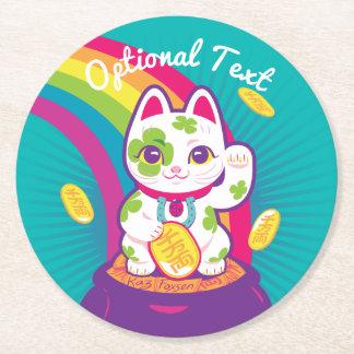 Lucky Cat Maneki Neko Good Luck Pot of Gold Round Paper Coaster