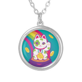 Lucky Cat Maneki Neko Good Luck Pot of Gold Silver Plated Necklace