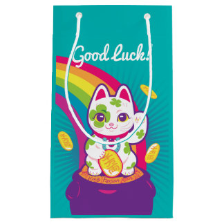 Lucky Cat Maneki Neko Good Luck Pot of Gold Small Gift Bag