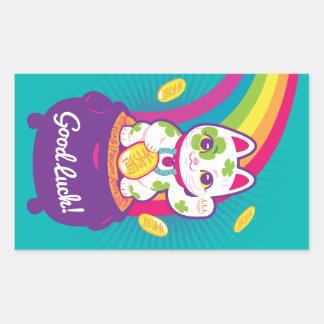 Lucky Cat Maneki Neko Good Luck Pot of Gold Sticker