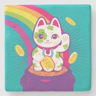 Lucky Cat Maneki Neko Good Luck Pot of Gold Stone Coaster