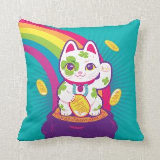 Lucky Cat Maneki Neko Good Luck Pot of Gold Throw Pillow