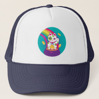 Lucky Cat Maneki Neko Good Luck Pot of Gold Trucker Hat