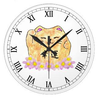 Lucky Cat (Maneki Neko) Round Wall Clock