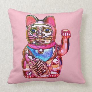 Lucky cat, Maneki-neko Throw Pillow