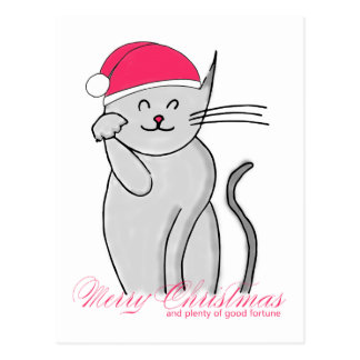 Lucky Cat Merry Christmas & plenty of good fortune Postcard