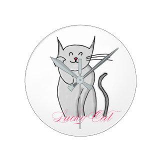 Lucky Cat Round Medium Wall Clock