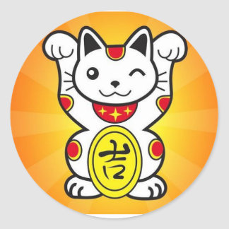 Lucky Cat Round Sticker