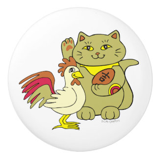 Lucky Cat Year of the Rooster Any Background Color Ceramic Knob