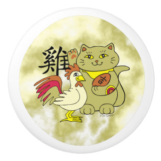Lucky Cat Year of the Rooster Ceramic Knob
