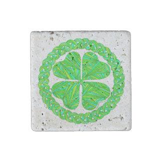 Lucky Celtic Shamrock Four Leaf Clover Fun Green Stone Magnet