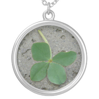 Lucky Charm Four Leaf Clover Photo Personalized Necklace