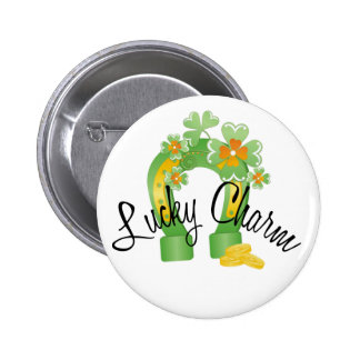 Lucky Charm Horseshoe 2 Inch Round Button