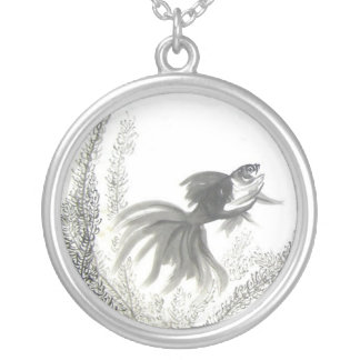 Lucky Chinese Goldfish Brush Art Necklace