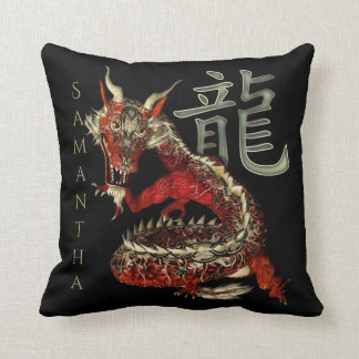 Lucky Chinese Red Dragon Throw Pillow