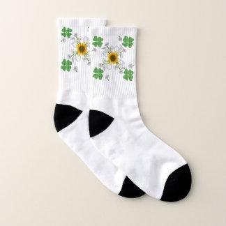 Lucky clover , Clover with Sunflower Calla Lily Socks