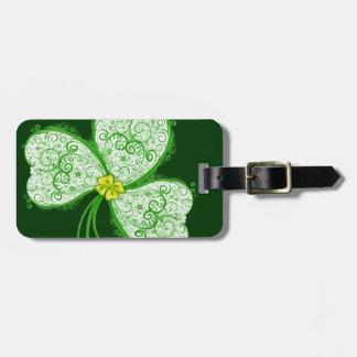 Lucky clover filigree luggage tag