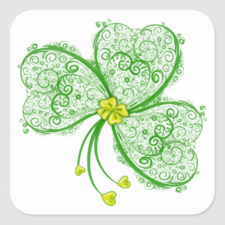 Lucky clover filigree square sticker