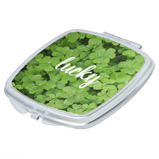 Lucky clover green natural compact mirror