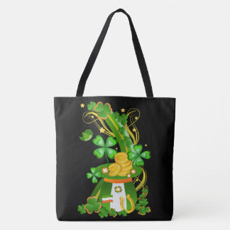 Lucky clover hat tote bag
