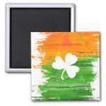 Lucky Clover & Ink Background Refrigerator Magnet