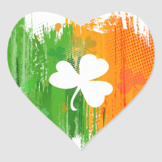 Lucky Clover & Ink Background Heart Stickers