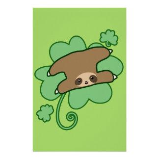 Lucky Clover Sloth Custom Stationery