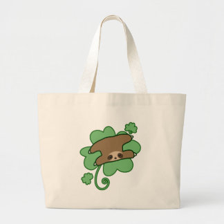 Lucky Clover Sloth Large Tote Bag