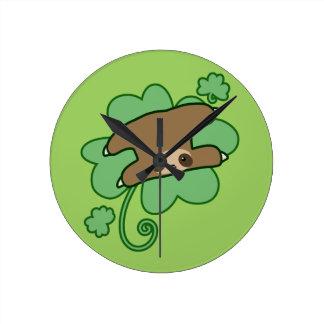 Lucky Clover Sloth Round Clock
