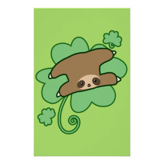 Lucky Clover Sloth Stationery