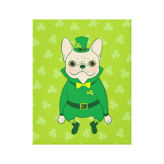 Lucky Cute Frenchie on St. Patrick's Day Canvas Print