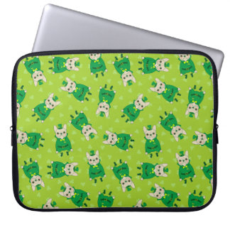Lucky Cute Frenchie on St. Patrick's Day Laptop Sleeves