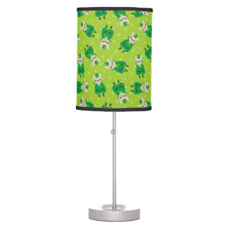 Lucky Cute Frenchie on St. Patrick's Day Table Lamp