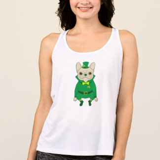 Lucky Cute Frenchie on St. Patrick's Day Tank Top