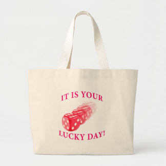 Lucky day with dice roll tote bag