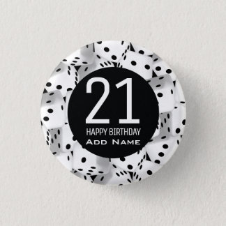 Lucky dice 1 inch round button