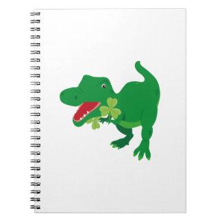 Lucky Dinosaur Shamrocks Kids St. Patrick's Day Notebook