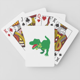 Lucky Dinosaur Shamrocks Kids St. Patrick's Day Playing Cards