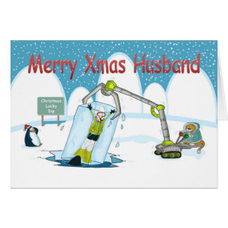 lucky Dip funny diving Merry christmas Husband Card