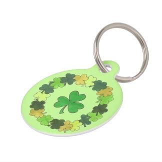 Lucky Dog Green Irish Shamrock Clover Wreath Luck Pet Tag