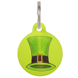 Lucky Dog Green Leprechaun Tophat St Patrick's Day Pet ID Tag