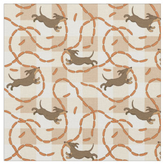 lucky dogs with sausages background fabric