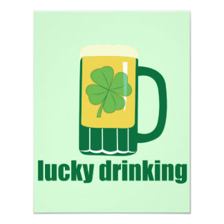 "Lucky Drinking St. Patrick's Day Invitations 4.25"" X 5.5"" Invitation Card"