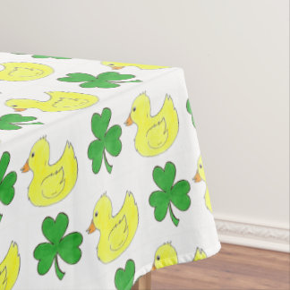 Lucky Duck Irish Shamrock Clover Rubber Ducky Tablecloth