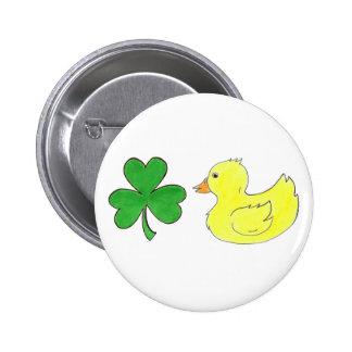 Lucky Ducky Shamrock Ducky St Patrick's Day Button