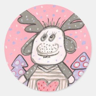 Lucky Elk Round Sticker
