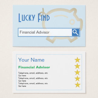 """Lucky Find"" Financial Advisor Business Cards"