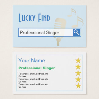 """""""Lucky Find"""" Professional Singer Business Cards"""