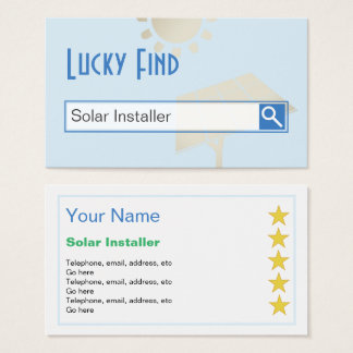 """Lucky Find"" Solar Installer Business Cards"